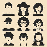 Vector set of different male and female icons in trendy flat style. People faces or heads. Vector set of different male and female icons in trendy flat style Stock Image