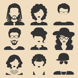 Vector set of different male and female icons in trendy flat style. People faces or heads. royalty free illustration
