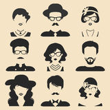 Vector set of different male and female icons in trendy flat style. People faces or heads collection. Vector set of different male and female icons in trendy Royalty Free Stock Photography