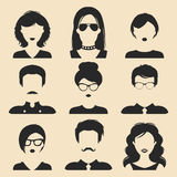 Vector set of different male and female icons in trendy flat style. People faces or heads images. Vector set of different male and female icons in trendy flat Royalty Free Stock Image
