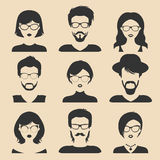 Vector set of different male and female icons in trendy flat style. People faces and heads images collection. Royalty Free Stock Photos