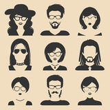 Vector set of different male and female icons in trendy flat style. People faces and heads images collection. Vector set of different male and female icons in Stock Photography