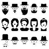 Vector set of different male and female icons in trendy flat style. Stock Images