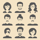 Vector set of different male and female icons in trendy flat style. People faces icons collection. Vector set of different male and female icons in trendy flat Royalty Free Stock Photos