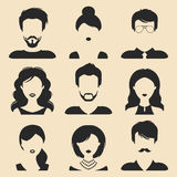 Vector set of different male and female icons in trendy flat style. People faces images collection. Vector set of different male and female icons in trendy flat Royalty Free Stock Image