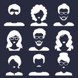 Vector set of different male and female icons in trendy flat style. People faces images collection. Royalty Free Stock Photos
