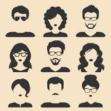 Vector set of different male and female icons in trendy flat style. People heads and faces images collection. Royalty Free Stock Image