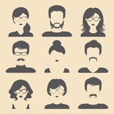 Vector set of different male and female icons in trendy flat style. People heads and faces images collection. Royalty Free Stock Photo