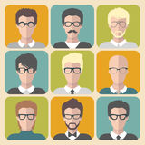 Vector set of different man app icons in glasses in flat style. Stock Photo