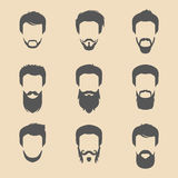 Vector set of different men hipster haircuts, beard, mustache icons in trendy flat style. Male faces icons collection. Stock Photos