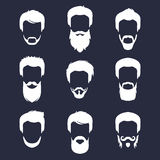 Vector set of different men hipster haircuts, beard, mustache icons in trendy flat style. Man faces images collection. Stock Photography