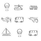 Vector set of different modes of transport logo gr Stock Image