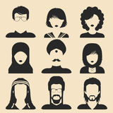 Vector set of different nationality man and woman icons in flat style. People faces or heads images. Royalty Free Stock Images