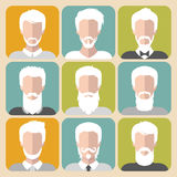 Vector set of different old man with gray hair app icons in flat style. Stock Photos