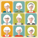 Vector set of different old woman with gray hair app icons in flat style. Heads and faces images collection. Royalty Free Stock Photos