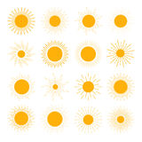 Vector set of different orange sun icons. The sun sets straight. Rays on white background Royalty Free Stock Photography