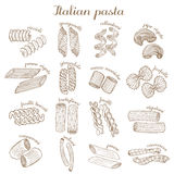 Vector set of different pasta shapes Stock Photos