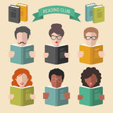 Vector set of different people reading books app icons in trendy flat style. Royalty Free Stock Photos