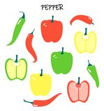 Vector set with different peppers - chilli and capsicum, bell pepper. vector illustration