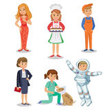 Vector Set of different professions. Kids profession. In cartoon style. Businesswoman, baker, astronaut, actress, vet, worker Royalty Free Stock Photo