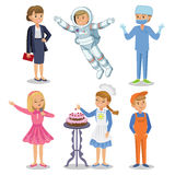 Vector Set of different professions. Kids profession Stock Images