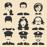 Vector set of different professions male and female icons in flat style. People faces or heads images. Stock Image