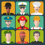 Vector set of different professions man icons in trendy flat style. Stock Photo