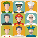 Vector set of different professions man and woman app icons in trendy flat style. Stock Photos