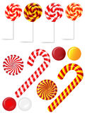 Vector set with different red and white candies Royalty Free Stock Image