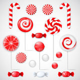 Vector set with different red and white candies. And lollipops. EPS 10 Stock Images