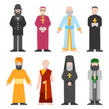 Vector set of different religion people confession man. People of different religion in traditional clothing in trendy flat style. Religion people islam and Royalty Free Stock Images
