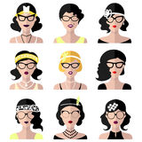 Vector set of different retro flapper girls in different shapes vintage glasses in trendy flat style. Stock Images