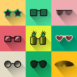 Vector Set of different shapes sunglasses simple icons royalty free illustration