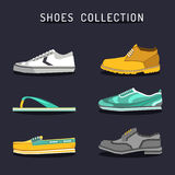 Vector set of different shoes icons in flat style. Footwear logos collection. Illustrations of boot, ked, sneacker etc. Vector set of different shoes icons in Stock Photography