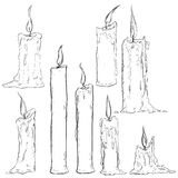 Vector Set of Different Sketch Candles. On White Background Royalty Free Stock Photography