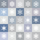 Vector set of different snowflakes. Seamless winter pattern Stock Photos