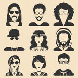 Vector set of different subcultures man and woman app icons in flat style. Goth, raper etc. web images. Stock Photos