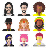 Vector set of different subcultures man and woman app icons in flat style. Goth, raper, hippy, hipster etc. web images. Royalty Free Stock Images