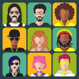 Vector set of different subcultures man and woman app icons in trendy flat style. Goth, raper, hippy, hipster,raver etc. Stock Image