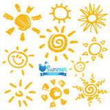 Vector set of different suns , hand drawn illustration Royalty Free Stock Images
