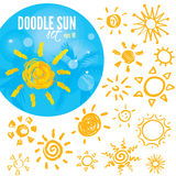 Vector set of different suns , hand drawn illustration Stock Image