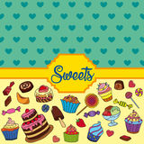 Vector set of different sweets. Sweets background. Vector set of different sweets. Colorful background with sweets. Perfect for printing on fabric or paper Stock Photos