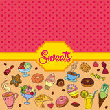 Vector set of different sweets. Sweets background. Vector set of different sweets. Colorful background with sweets. Perfect for printing on fabric or paper Royalty Free Stock Image