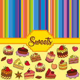 Vector set of different sweets. Sweets background. Vector set of different sweets. Colorful background with sweets. Perfect for printing on fabric or paper royalty free illustration
