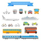 Vector set of different transportation vehicles isolated on white background. Urban transport icons in flat style design Stock Photos