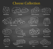 Vector set of different types of cheese, hand drawn illustration  on chalkboard background. Royalty Free Stock Images