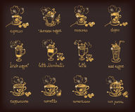 Vector set with different types of coffee Stock Image
