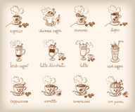 Vector set with different types of coffee Royalty Free Stock Photo