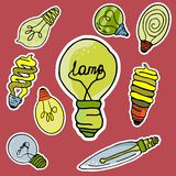 Vector set of stickers in the form of bulbs. Vector set of different types of light bulbs made in the same style royalty free illustration