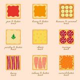 Vector set of different types of toast. S - nine positions Royalty Free Stock Photo